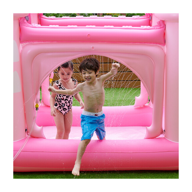 Water Fun Castle Inflatable Kiddie Pool with Pump, Pink