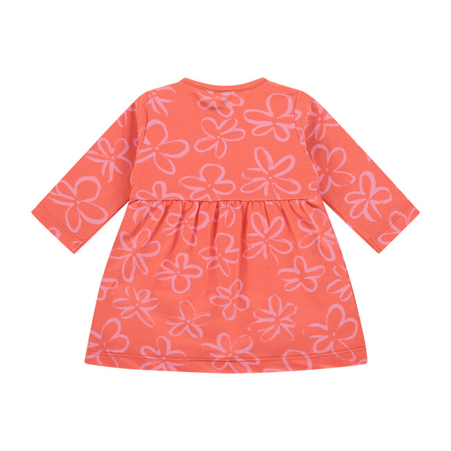 Dress, Coral Print with Flowers