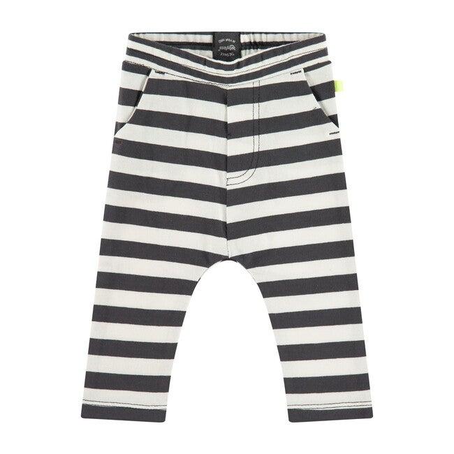 Striped Leggings, Dark Grey