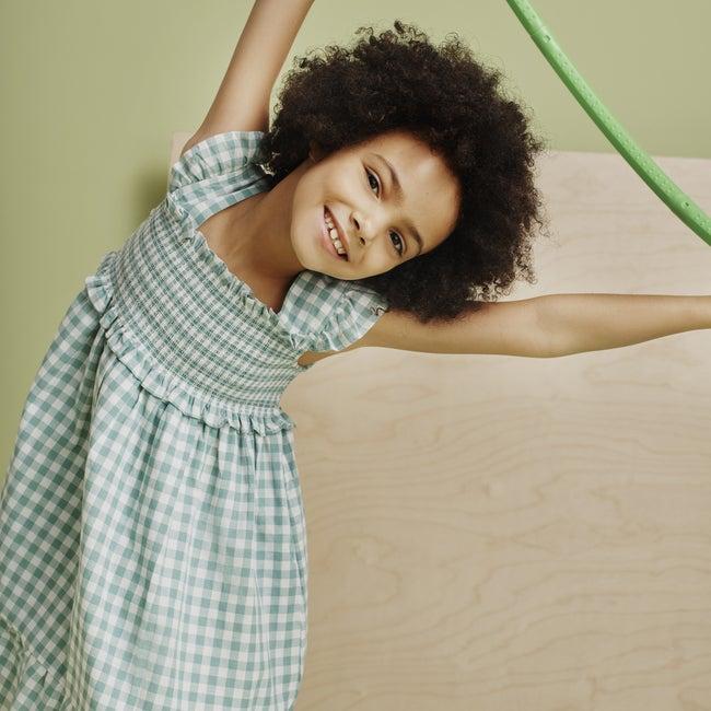 Daria Dress, Sage Gingham