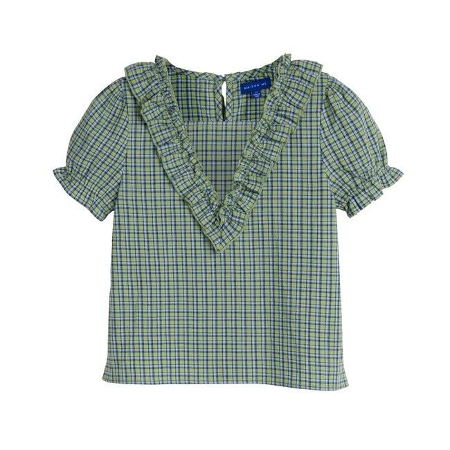 Nikita Top, Green Check - Shirts - 1