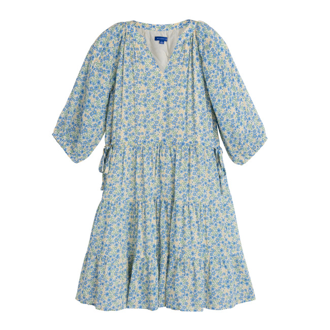Heidi Tiered Dress, Blue Brushstroke Flowers