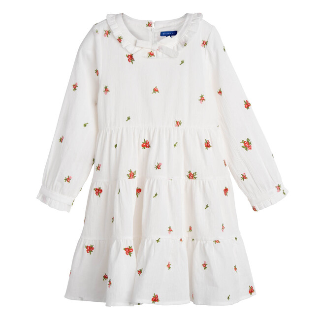 Clementine Tiered Dress, Embroidered Flower