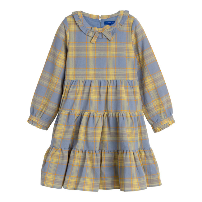 Clementine Tiered Dress, Blue Yellow Check