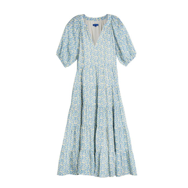 Hadley Women's Tiered Dress, Blue Brushstroke Flowers