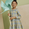 Clementine Tiered Dress, Blue Yellow Check - Dresses - 2