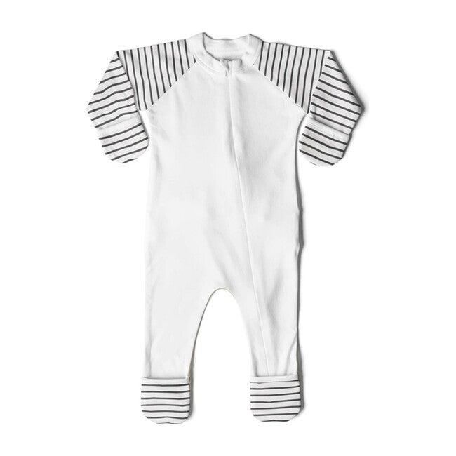 Zip Footie, Grey Stripe