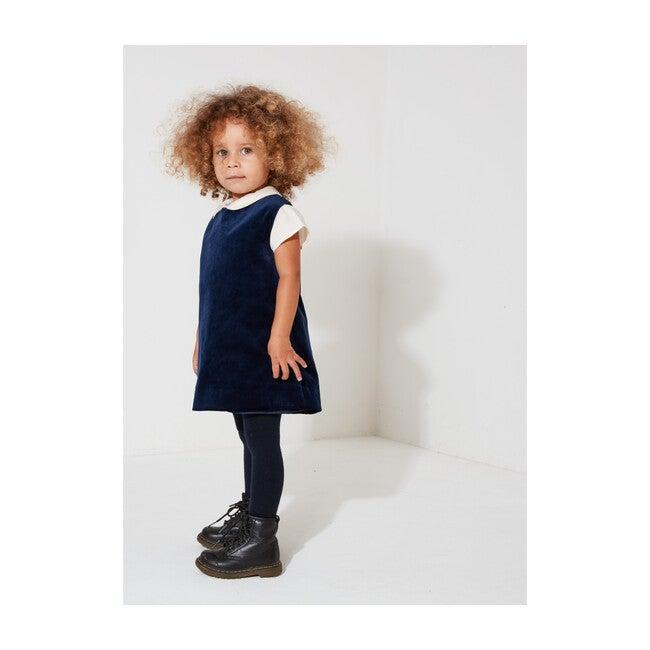 Organic Cotton Velvet Dress, Navy Blue