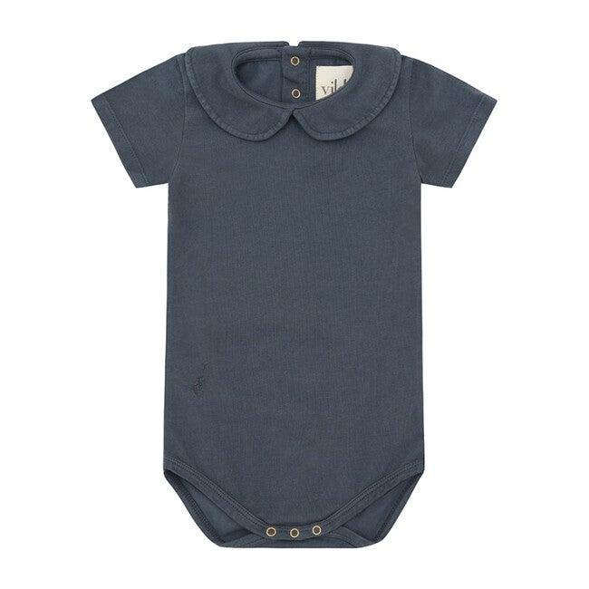 Natural Stone Blue - Palmetto Dye, Organic Cotton Collared Bodysuit