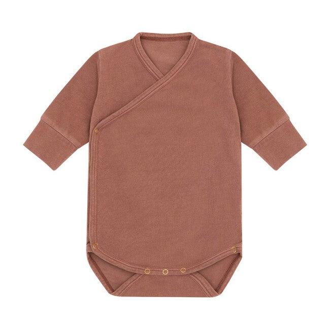 Organic Cotton Kimono Bodysuit, Natural Clay Pink & Beetroot Dye