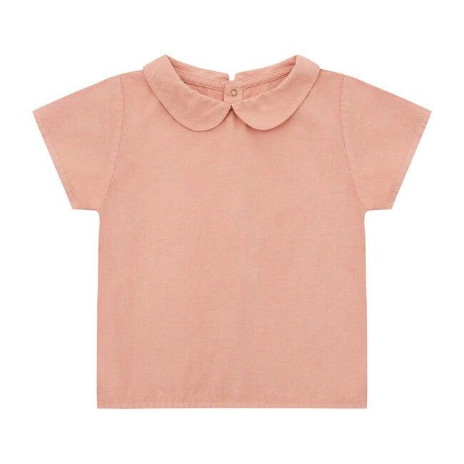 Organic Short Sleeve Woven Collared Shirt, Lazy Pink