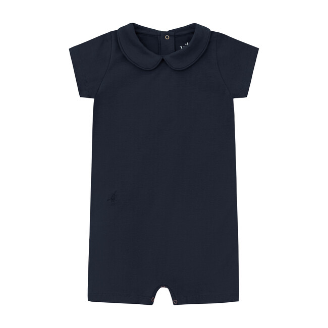 Organic Short Sleeve Collared Bodysuit with Shorts, Nocturnal Navy