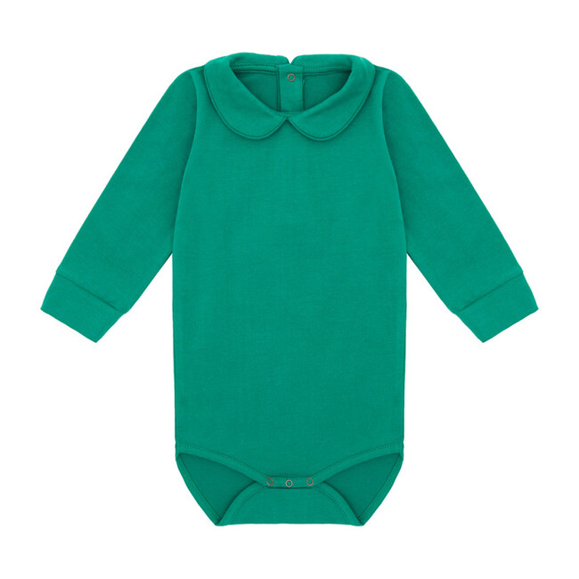 Organic Long Sleeve Collared Bodysuit, Happy Green