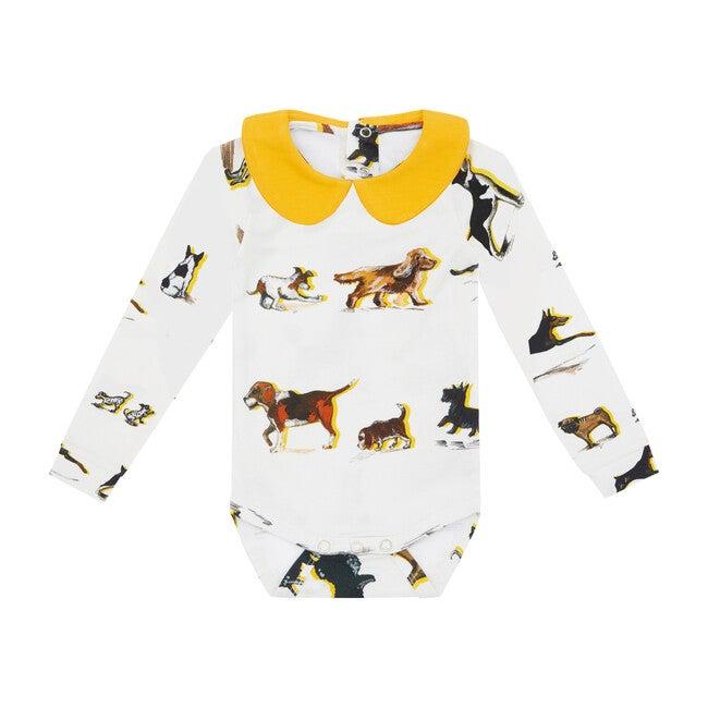 Organic Long Sleeve Collared Bodysuit, Dog Print