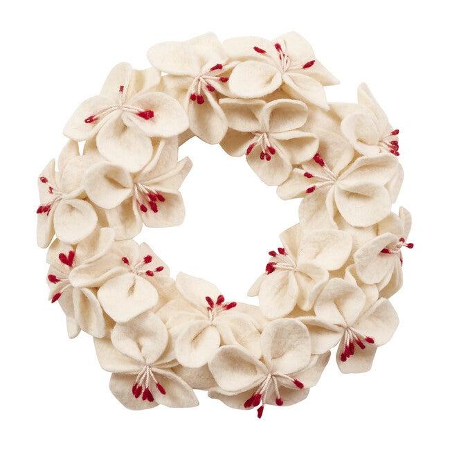 Handmade Hand Felted Wool Wreath, Cream Amaryllis Flowers
