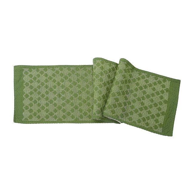 Cotton Table Runner, Green Ginkgo - Accents - 1