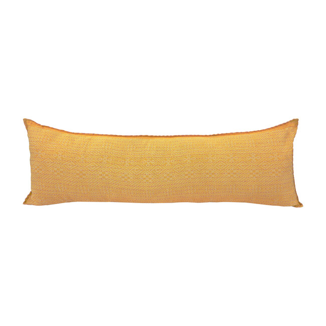 Cotton Lumbar Pillow, Yellow Diamonds