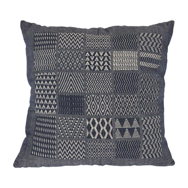 Artisan Hand Loomed Cotton Square Pillow, Indigo Blocks