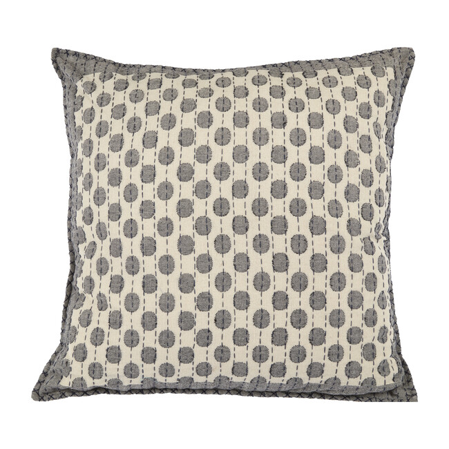 Artisan Hand Loomed Cotton Square Pillow, Dots in Gray
