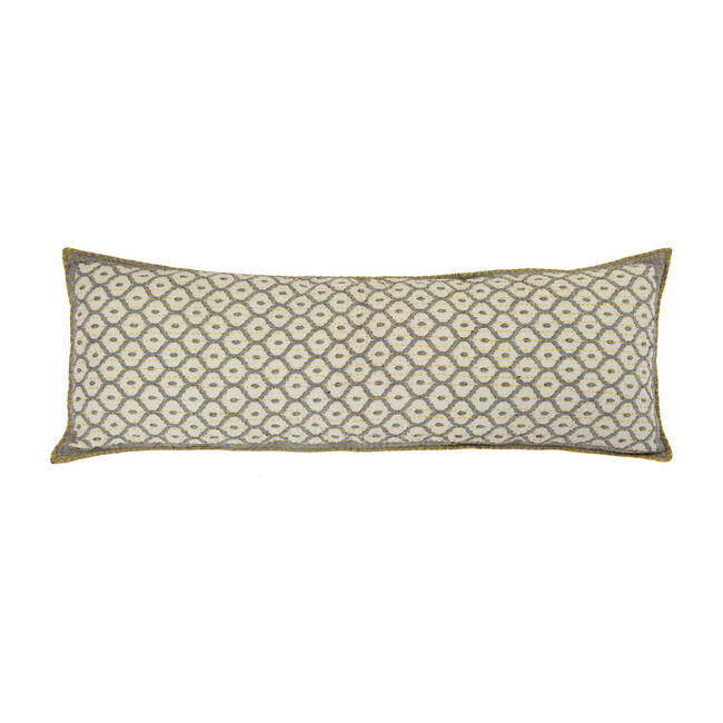 Artisan Hand Loomed Cotton Lumbar Pillow, Gray with Yellow Stitching