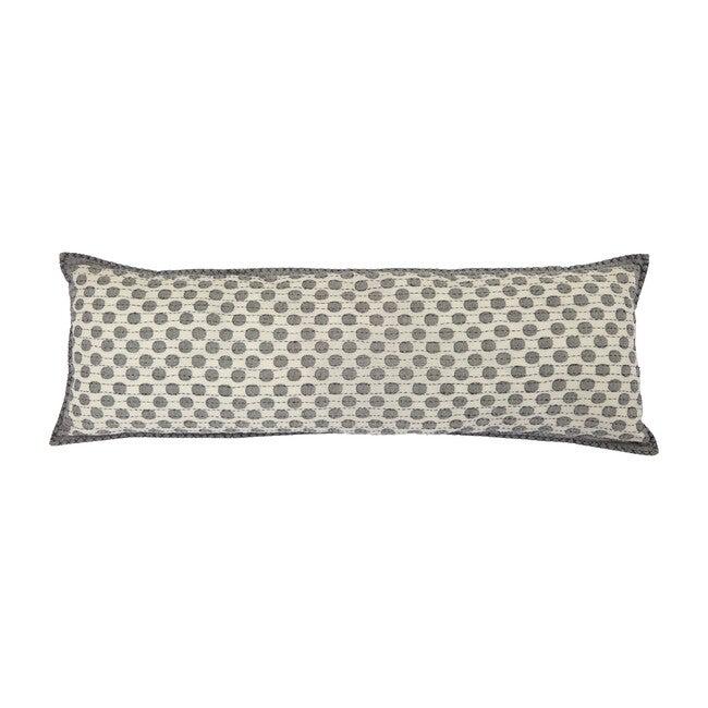 Artisan Hand Loomed Cotton Lumbar Pillow, Gray Dots