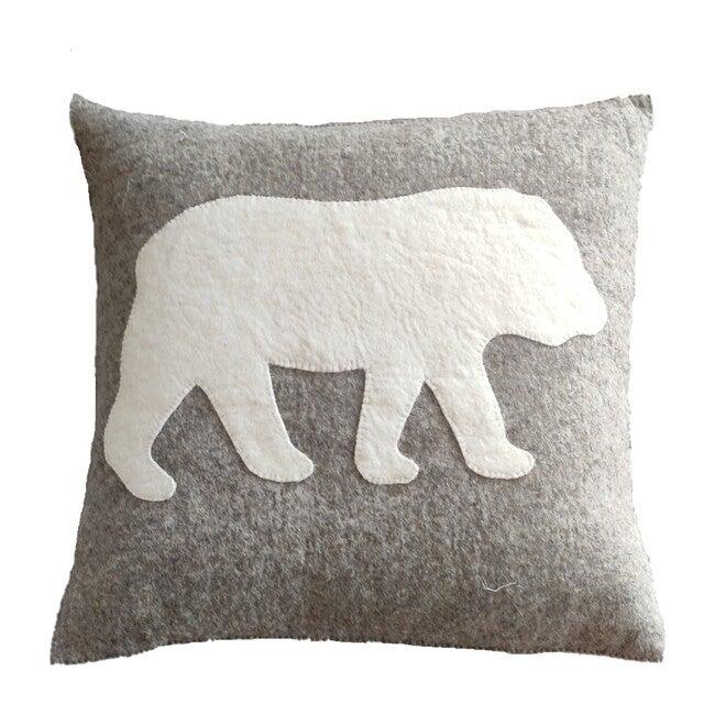 Bear Silhouette Pillow, Grey