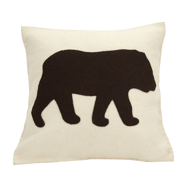 Bear Silhouette Pillow, Cream