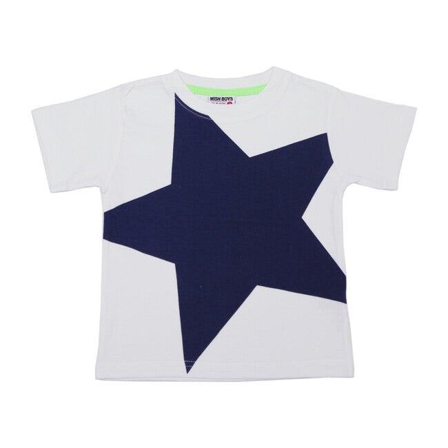 Navy Star Tee, White