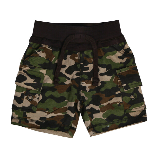 Distressed Camo Cargo Shorts, Olive