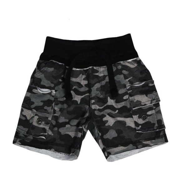 Distressed Camo Cargo Shorts, Black