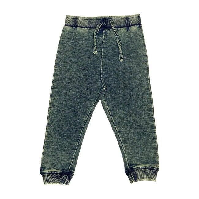 Distressed Denim Knit Pant, Dark