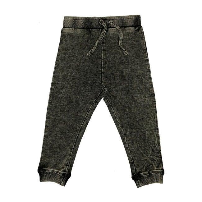 Distressed Denim Knit Pant, Black