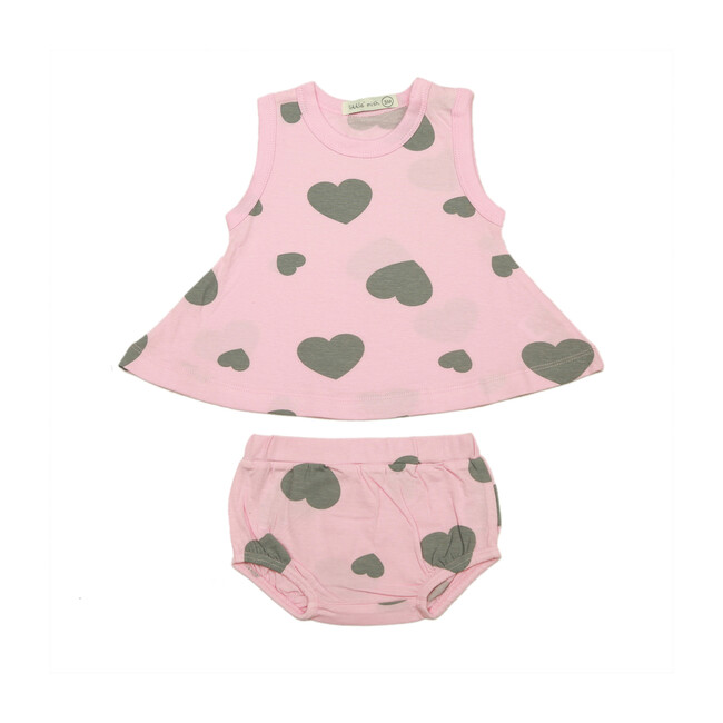 Hearts Swing Diaper Set, Light Pink