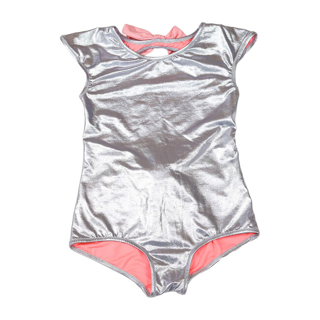Venezuela One Piece Swimsuit, Silver Pink Bows