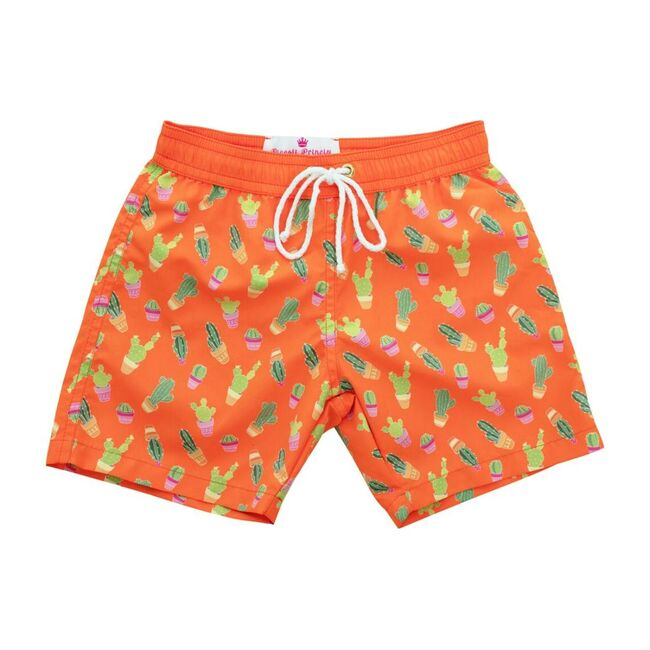 Mason Swim Short, Orange with Cactus
