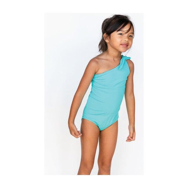 Girl's Asymmetrical One Piece, Turquoise Seas