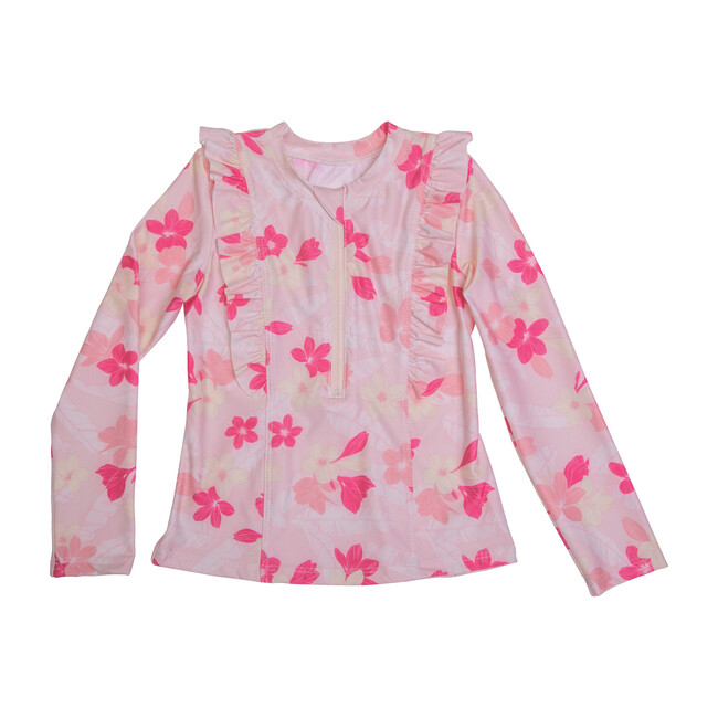 Chloe Long Sleeve Rashguard Top, Pink Plumeria