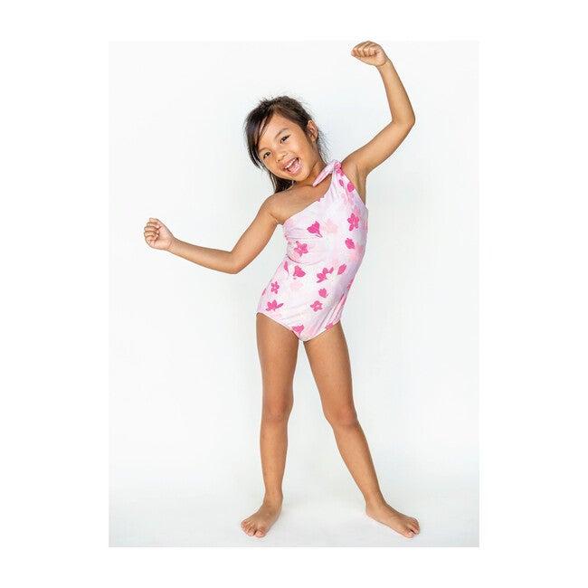 Girl's Asymmetrical One Piece, Pink Plumeria