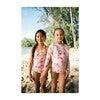 Chloe Long Sleeve Rashguard Top, Pink Plumeria - Rash Guards - 2