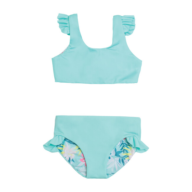 Ava Reversible Two Piece, Opa Blue + Island Hibiscus