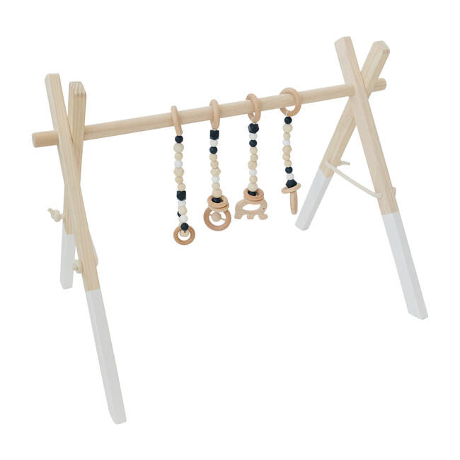 White Wood Gym with Black Toys