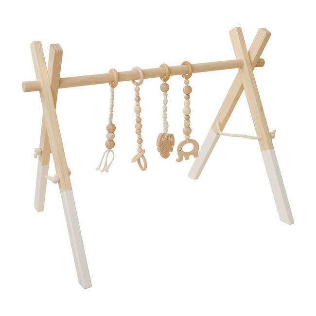 White Wood Gym with Macrame Toys