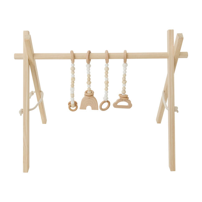 Natural Wood Gym with White Toys
