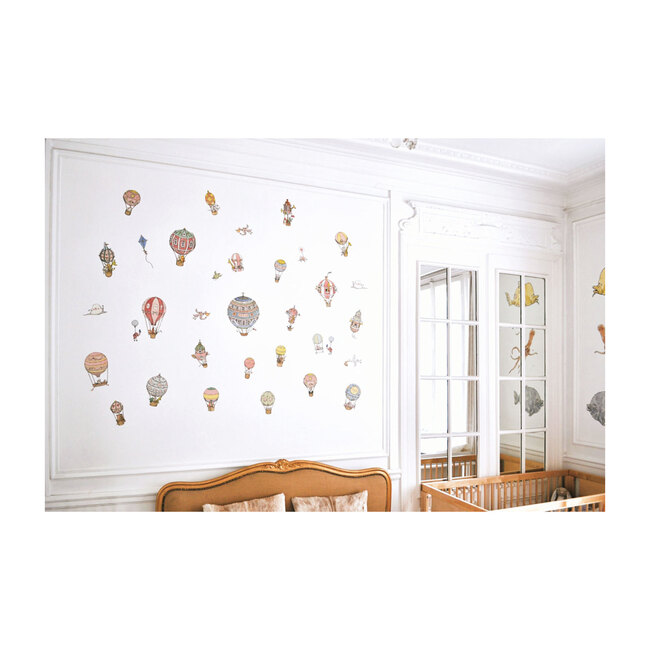 Set of 40 Removable Wall Stickers, Hot Air Balloons