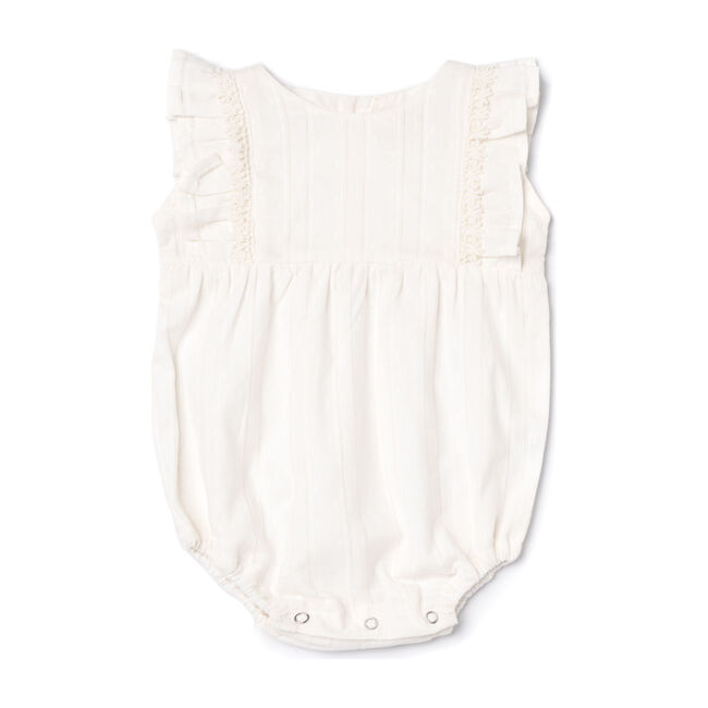 Flora Romper, White Picoting Swiss Dot