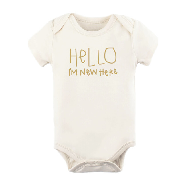 Hello I'm New Here Short Sleeve Onesie, Clay