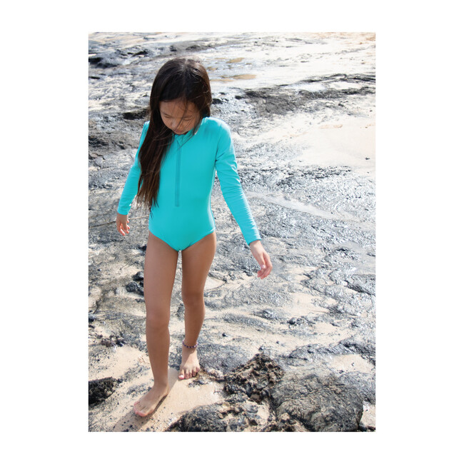 Girl's Long Sleeve Rashguard One Piece, Turquoise Seas