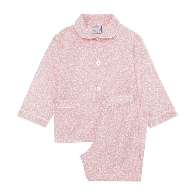 Ottelie Pajamas, Pale Pink & White Leaf