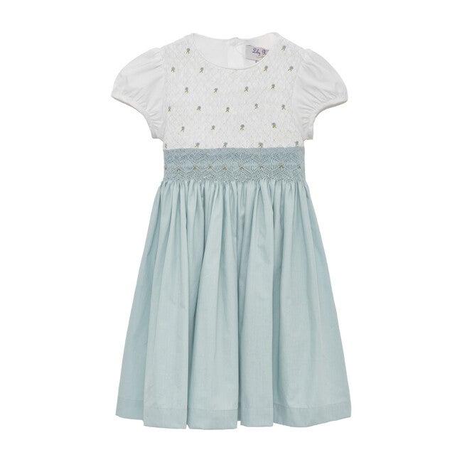 Rose Hand Smocked Dress,  Sea Blue