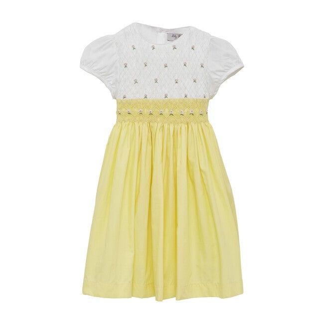 Rose Hand Smocked Dress, Lemon